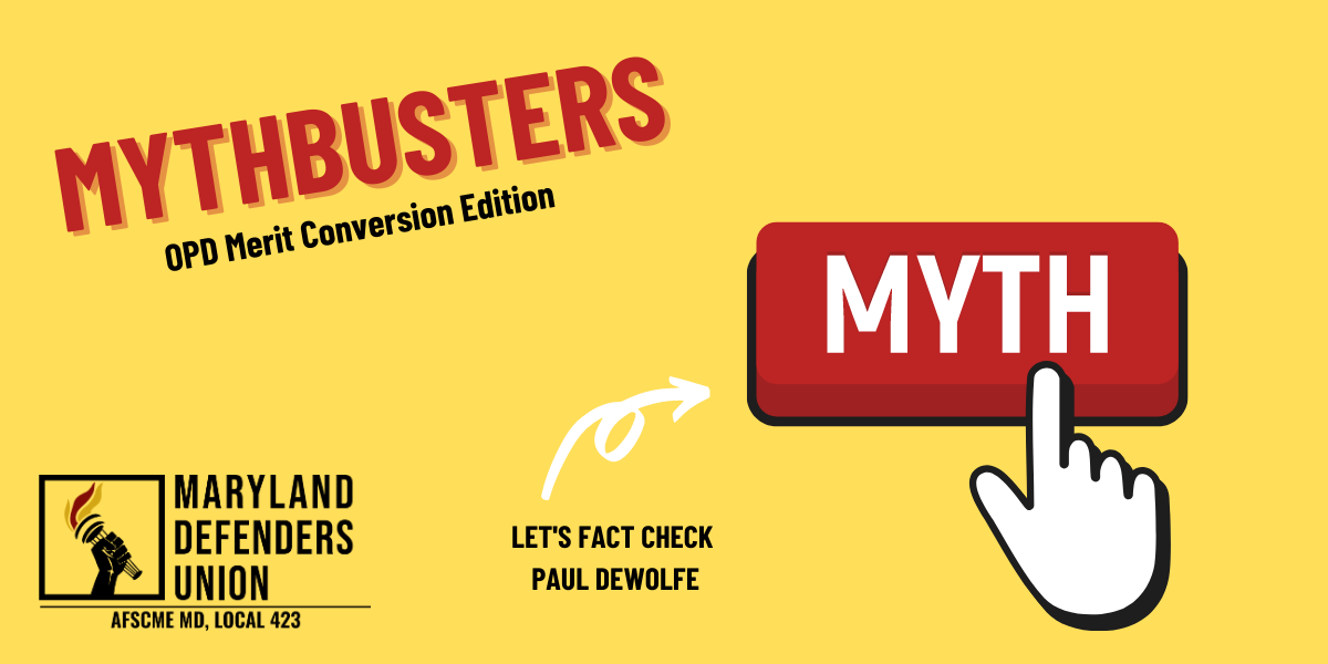 "Black and red text on yellow background saying ""Mythbusters: OPD Merit Conversion Edition, let's fact check Paul DeWolfe"" with a red myth button being clicked."